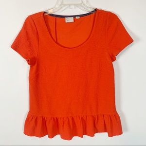 Anthropologie Postmark Orange Back Ruffle Top